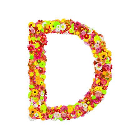 High Quality Raster Flower Alphabet D Stock Photo