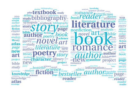 Book shaped word cloud Illustration