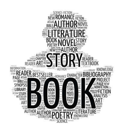 historias biblicas: Libro de lectura de la silueta - nube de palabras Vectores