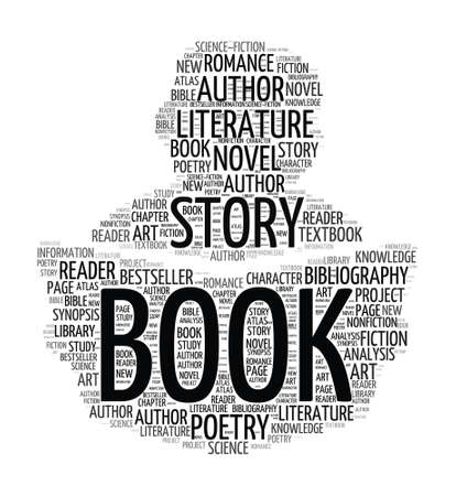 author: Silhouette reading book - word cloud Illustration