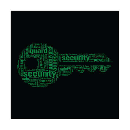 internet protection: Internet Security Concept - Key shaped word cloud