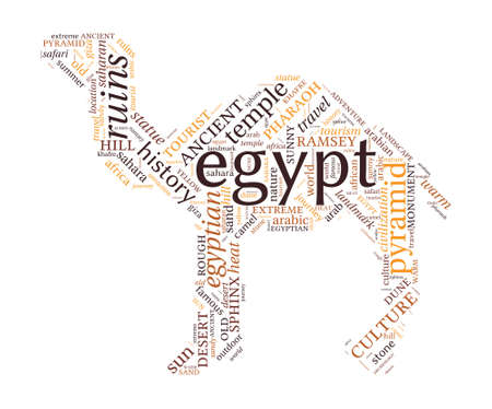 Camel shaped Egypt concept word cloud