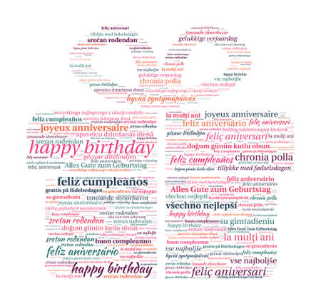 Gift Box Shaped Happy Birthday in Word Cloud Vector