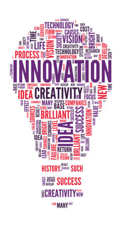 innovation word: Innovation Concept Bulb shaped word cloud Illustration