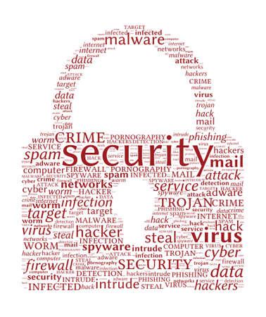spyware: Internet Security Concept - con forma de candado nube de palabras