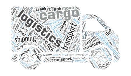 Van Shaped Word Cloud - Logistics, Cargo Concept Vector
