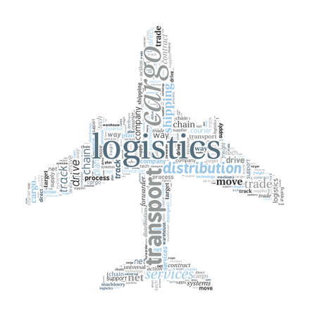 Plane Shaped Logistics and Transport Concept in Word Cloud