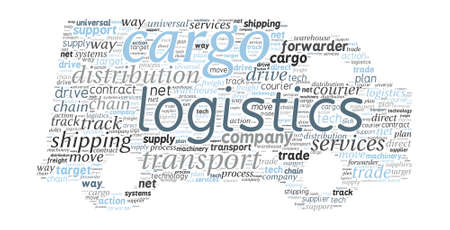 Van Shaped Transport and Logistics Concept in Word Cloud Vector