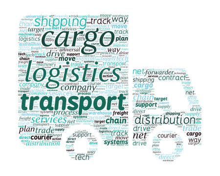 Van Shaped Transport and Logistics Concept in Word Cloud