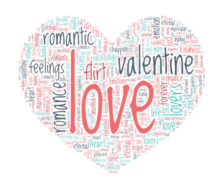 sexual pleasure: Love Concept - Heart shaped word cloud Illustration