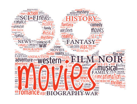 Camera shaped Movie Concept word cloud