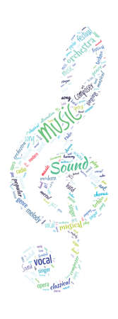 vocal: Note Shaped Word Cloud Music Concept Illustration