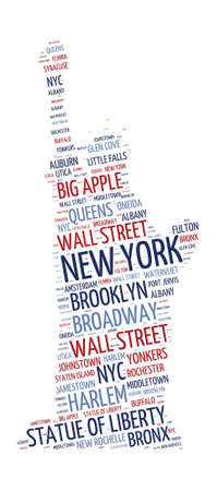 bronx: Statue of Liberty shaped word cloud in New York concept