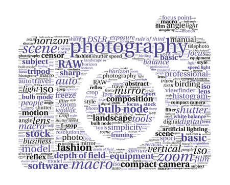 Photography Concept Word Cloud in camera shape