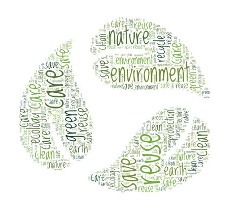 Recycle Concept - Recycling Symbol with leaves word cloud