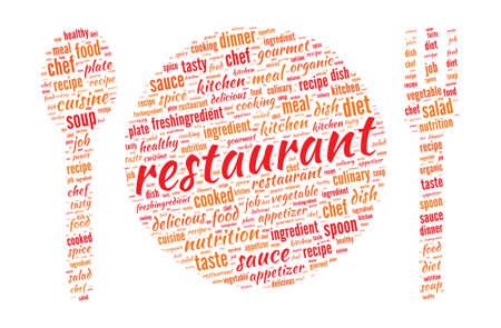レストラン コンセプト - 皿、スプーンとフォークの形を単語の雲