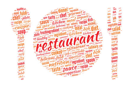 Restaurant Concept - Plate, Spoon and Fork shaped word cloud