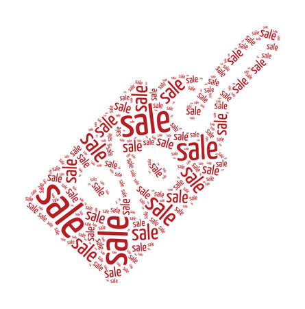 priced: Sale & Discount Concept Word Cloud in Price Tag shape Illustration