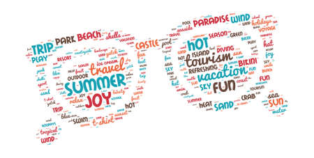 Summer Vacation Concept - Sunglasses shaped word cloud