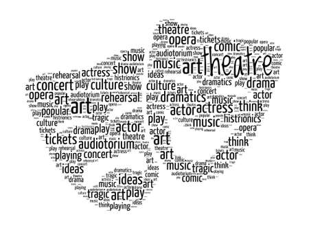 Theater Concept - Comedy en Drama Maskers Word Cloud Stock Illustratie