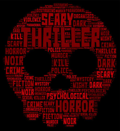 thriller: Thriller Concept Word Cloud - Skull Shaped Illustration