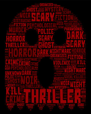 Thriller Concept Word Cloud - Skull Shaped Illustration