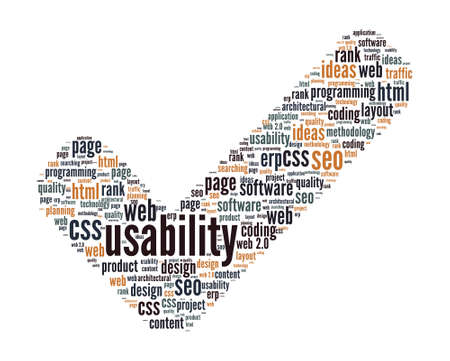 check mark sign: Usability Concept - Check Mark Sign Shaped Word Cloud