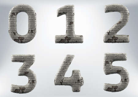 3D Render Set of a Masonry, Brick Alphabet, including clipping path on white background. 版權商用圖片