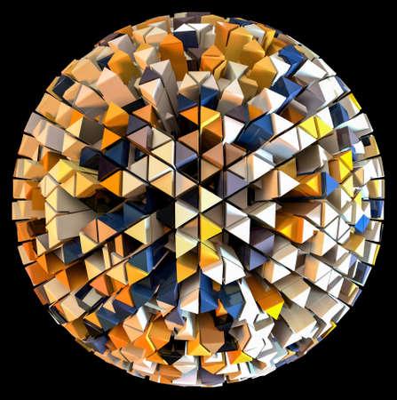 3D-Rendering einer abstrakten Kugelform mit extrudierten Dreiecken auf schwarzem Hintergrund isoliert