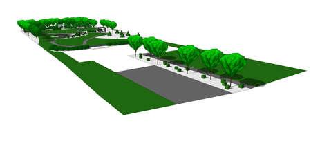 arquitecto: Ilustraci�n de jard�n contempor�nea. Con dibujados a mano los �rboles y arbustos. En el fondo blanco.