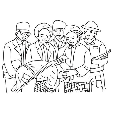 Hand drawn of fighters who are asking the blessing of religious leaders. Vector, illustration. 向量圖像