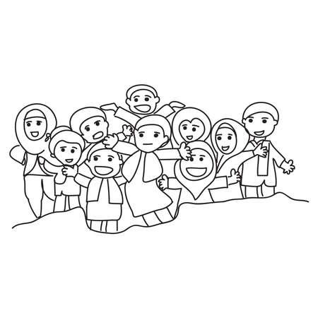 Hand drawn of Santri or muslim students. Vector, illustration. Vektorgrafik