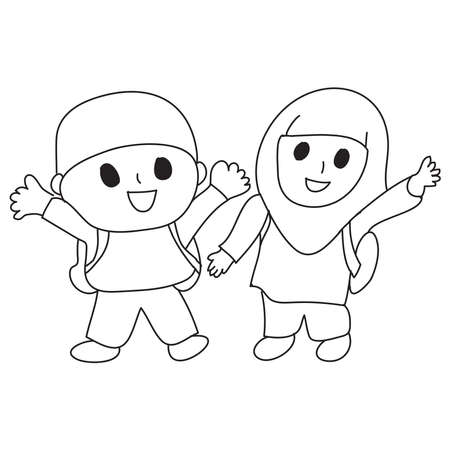 Hand drawn of happy Santri or muslim students. Vector, illustration.
