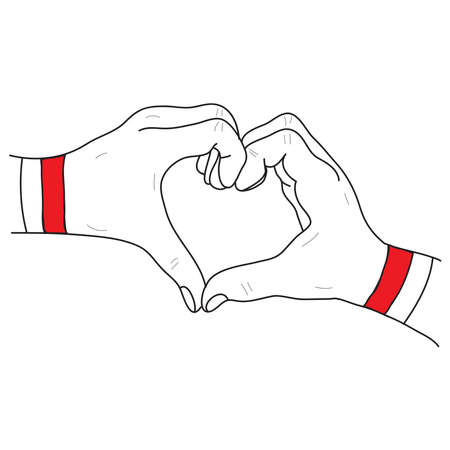 Hand drawn of hands that form a symbol of love with red white bracelet as symbol of the Indonesian flag