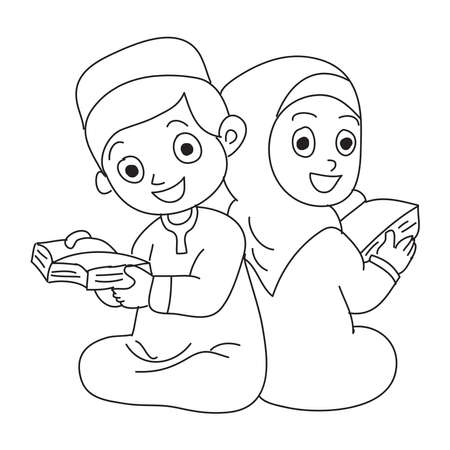 Hand drawn of happy Santri or muslim students reading Al-quran. Vector, illustration. 向量圖像