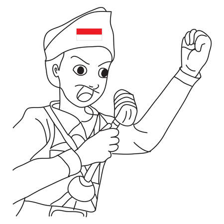 Hand drawn of a cartoon illustration of a hero giving a speech with red white attribute as symbol of the Indonesian flag