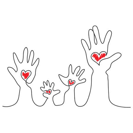 Hand drawn of many hands with love shape. Human right concept Vettoriali