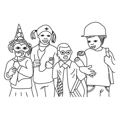 Hand drawn of the children wear professional clothes according to their dreams. Children day concept