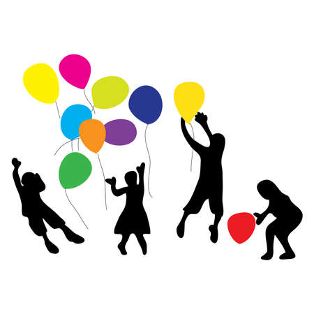 Hand drawn of children playing colorful balloons. Children day concept