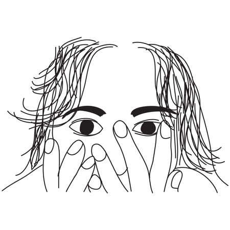 Hand drawn of depressed woman. Campaign against women's violence concept