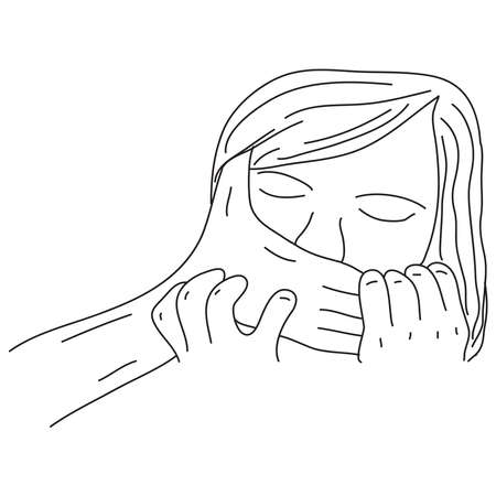 Hand drawn of a woman's mouth was smothered. Illustration of female violence concept