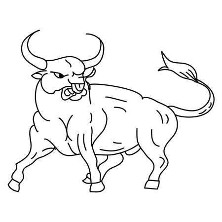 Hand drawn of an ox. 2021 zodiac. Line art.