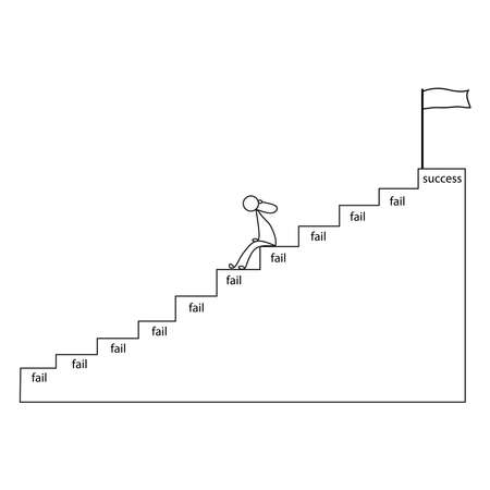 Businessman gives up vector concept: Lazy businessman gives up before reach the success flag on the top of stairs Иллюстрация