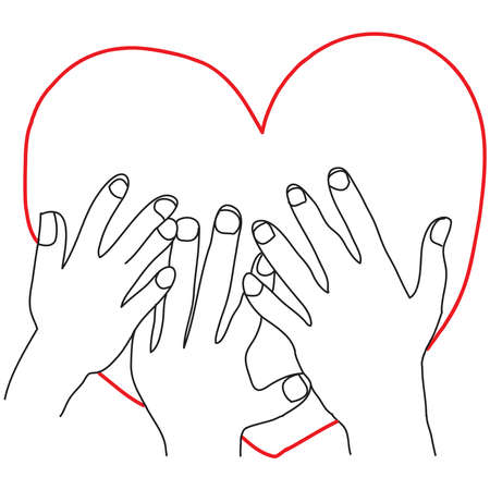 Hand drawn of some hands touch a love sign