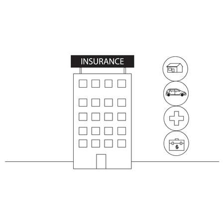 Insurance shopping vector concept: insurance office building 向量圖像