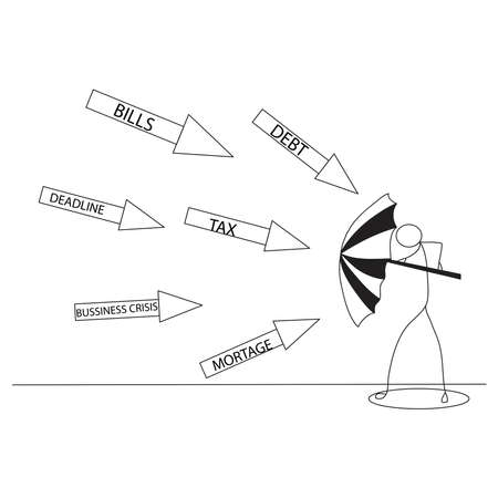 Business protection vector concept: Stick figure or businessman protecting himself from business problems with an umbrella