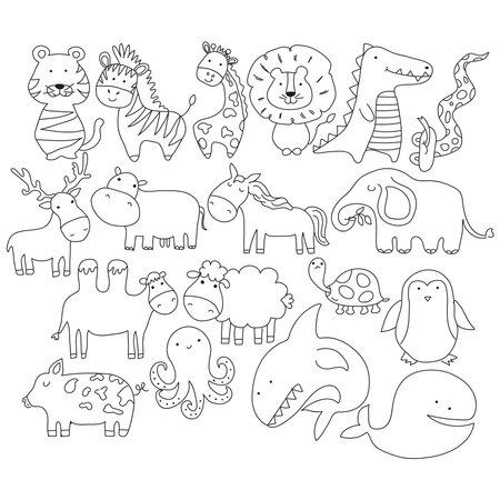 Vector cartoon big set of cute doodle animals. Perfect for postcard, birthday, baby book, children room