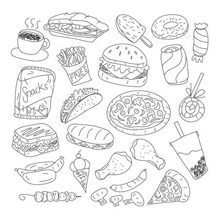 Fast Food Doodle Icons. Hand Made Line Art. Menu Restaurant. Famous Food. Logotype Symbol Design