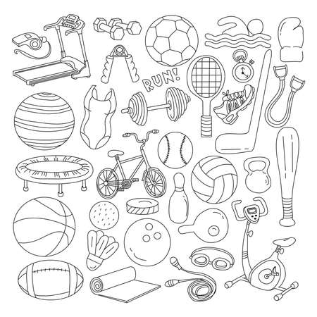 Fitness doodles set. Sport equipment, exercise machines and training accessories