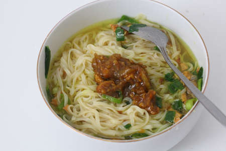 mie ayam or noodles with chicken. Indonesian food. Stockfoto